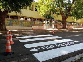 Подновяват пешеходните пътеки в Шумен за първия учебен ден
