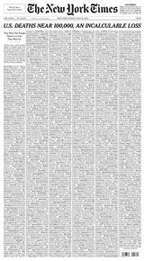 """""""Ню Йорк таймс"""" изписа имената на жертви на COVID-19 на първа страница"""