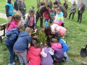 Малчугани и горски служители засадиха дръвчета в центъра на Смядово
