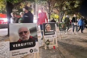 Протест срещу Кремъл в центъра на Берлин. Гебрев на снимка като една от жертвите му