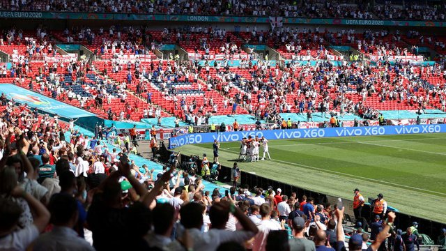 """Англия вече изигра един мач на """"Уембли"""" - при победата срещу Хърватия. Сн. Ройтерс"""