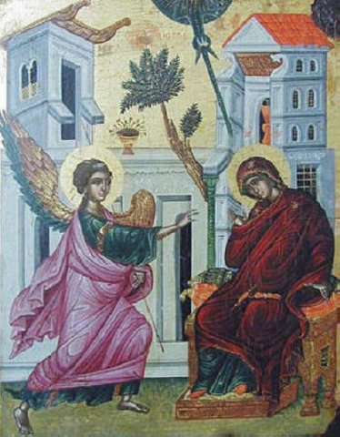 """Свето Благовещение - икона от църквата """"Св. Йоан Морски"""" в Несебър, 16 в. Снимката е от специализирания сайт """"Православието""""."""